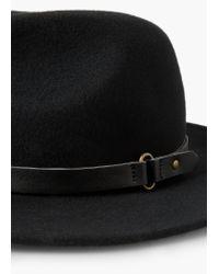 Mango - Black Wool Fedora Hat - Lyst