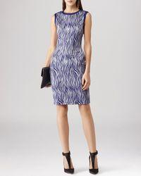 Reiss Blue Dress - Feist Zebra Print Jersey