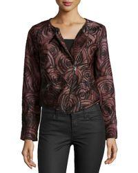 Haute Hippie Purple Floral-Print Leather Jacket