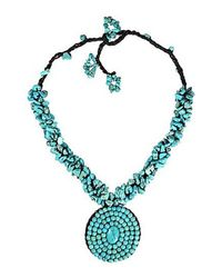 Aeravida | Blue Round Turquoise Mosaic Pendant Cluster Necklace | Lyst
