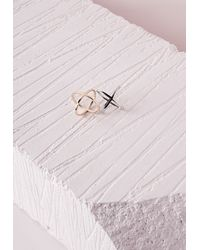 Missguided - Metallic Two Pack Space Rings - Lyst