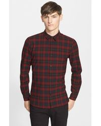 The Kooples - Red 'square' Trim Fit Plaid Sport Shirt for Men - Lyst