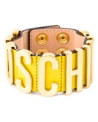 Moschino - Yellow Logo Plaque Bracelet - Lyst