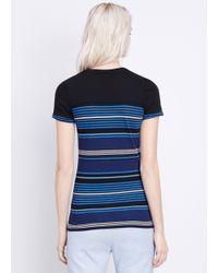 Vince - Black Engineered Stripe Short Sleeve Tee - Lyst