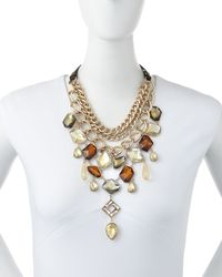Sam Edelman | Metallic Golden Epoxy Stone Bib Necklace | Lyst