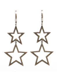 Rosa De La Cruz - White Burnished Gold And Diamond Star Earrings - Lyst