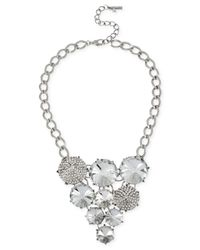 Steve Madden | Metallic Silver-Tone Pavé And Crystal Faceted Bead Frontal Necklace | Lyst