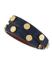 Tory Burch Blue Logo-Studded Denim Wrap Bracelet