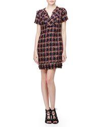 Trina Turk - Brown Short-sleeve Split-neck Shift Dress - Lyst