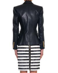 Balmain - Black Double-Breasted Leather Blazer - Lyst