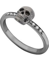 Theo Fennell | Metallic 18ct White-gold And Diamond Skull Motif Stacking Ring | Lyst