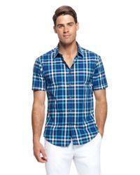 BOSS Green - Blue Bastiano | Regular Fit, Short Sleeved Stretch Cotton Check Print Button Down Shirt for Men - Lyst