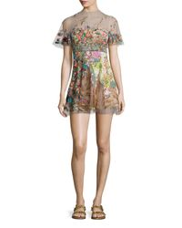 Valentino - Multicolor Short-sleeve Embroidered Illusion Dress - Lyst