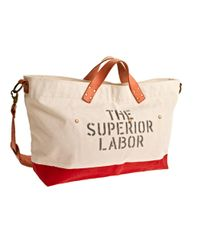 J.Crew Red Superior Labor Canvas And Leather Duffel Bag for men