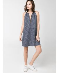 Mango Blue Cord Halter Neck Dress
