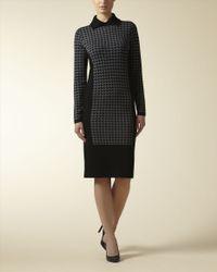 Jaeger - Black Wool Houndstooth Sweater Dress - Lyst