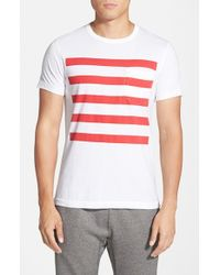 French Connection | Red 'Chatsworth Space Stripe' T-Shirt for Men | Lyst