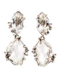 Alexis Bittar Fine - Metallic Silver Ice Marquis Clear Quartz Drop Earrings with Diamonds - Lyst