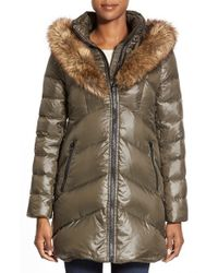 Kensie - Green Faux Fur Trim Down & Feather Fill Parka - Lyst