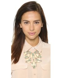 kate spade new york Metallic Centro Tiles Statement Necklace Light Wood Multi