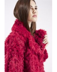 TOPSHOP - Red Shaggy Faux Fur Coat - Lyst