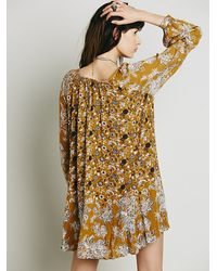 Free People - Brown Lucky Loosey Shapeless Dress - Lyst