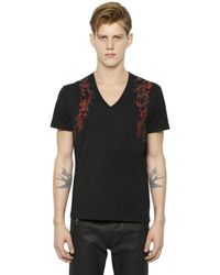 Alexander McQueen - Black Harness Printed Cotton V-neck T-shirt for Men - Lyst