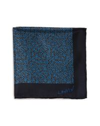 Lanvin | Black Print Silk Pocket Square for Men | Lyst