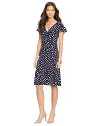 Lauren by Ralph Lauren - Blue Polka-Dot Surplice Dress - Lyst
