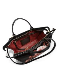 Longchamp - Black Le Pliage Roseprint Nylon Leather Heritage Satchel - Lyst
