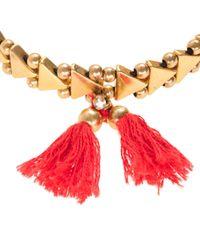 J.Crew Red Stretch Triangle Tassel Bracelet