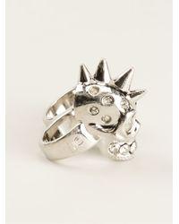 Alexander McQueen - Metallic Double Finger Ring - Lyst