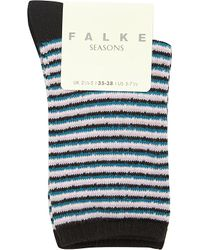 Falke | Black Striped Cotton-blend Socks | Lyst