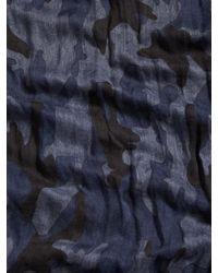 John Varvatos - Blue Crinkled Camo Scarf for Men - Lyst