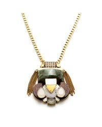 J.Crew | Metallic Mixed Stone Pendant Necklace | Lyst