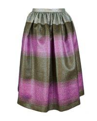 Marco De Vincenzo Green Multi Color Pleated Skirt