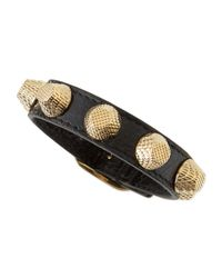 Balenciaga | Black Leather Golden Stud Bracelet | Lyst