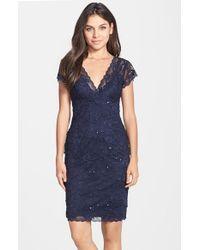JS Collections Blue Layered Lace Sheath Dress