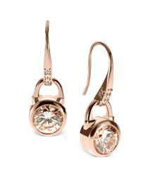 Michael Kors | Metallic Rose Goldtone Silk Padlock Drop Earrings | Lyst