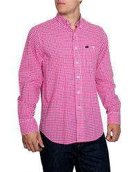 Raging Bull - Pink Signature Gingham Long Sleeve Button Down Shirt for Men - Lyst