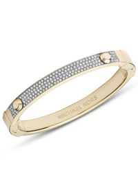 Michael Kors | Metallic Brilliance Gold Pave Astor Hinge Bangle | Lyst