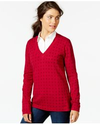 Tommy Hilfiger | Red Printed V-neck Sweater | Lyst