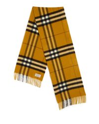 Burberry - Yellow Giant Icon Cashmere Scarf - Lyst