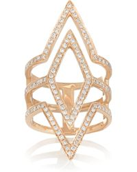 Anita Ko | Pink Tri-Point 18-Karat Rose Gold Diamond Ring | Lyst