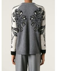P.A.R.O.S.H. Gray Floral Jacquard Sweater