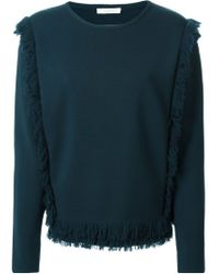 Chloé | Blue Fringed Sweater | Lyst
