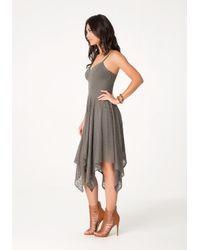 Bebe Green Flame Stitch Knit Dress