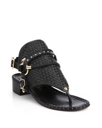 Ivy Kirzhner | Black Collossus Leather Toe-ring Sandals | Lyst