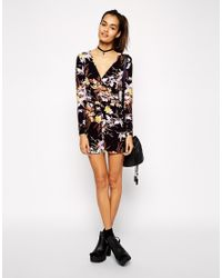 2cd0009a7ab Lyst - ASOS Wrap Playsuit With Long Sleeves In Floral Print