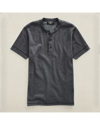 RRL | Gray Short Sleeved Henley for Men | Lyst